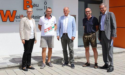 WK-Betriebsbesuch: Martina Romen-Kierner, Gerhard Weißensteiner, Erwin Fuchs, Peter Döller, Karl-Heinz Dernoscheg