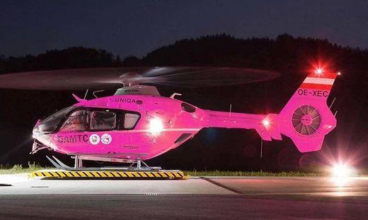 Der Hubschrauber, der in der Nacht ganz in Pink erstrahlen soll