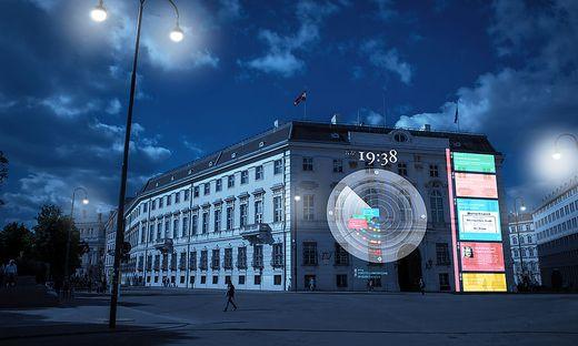 """So sah die Visualisierung der """"Zeituhr 1938"""" voriges Jahr auf der Fassade des Bundeskanzleramtes aus"""