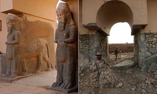 Nimrud vor und nach der Zerstörung durch IS-Kämpfer