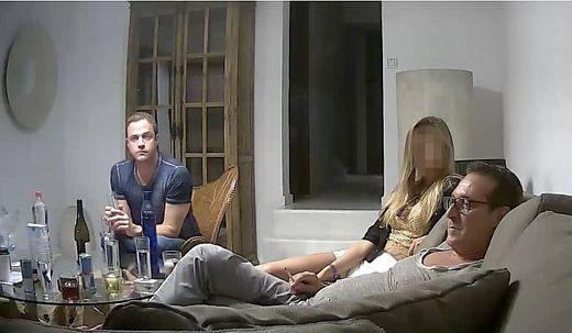 Gudenus und Strache mit ihrer russischen Gastgeberin auf Ibiza