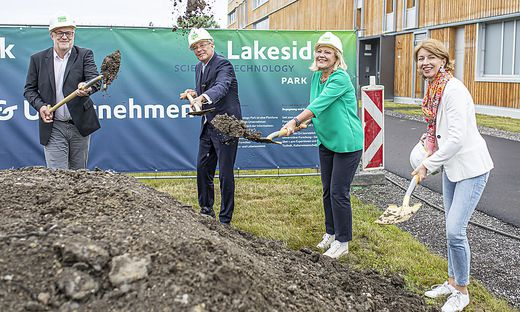 LH Dr. Peter Kaiser, LH Stv. Dr. Gaby Schaunig, Bgm. Dr. Maria-Luise Mathiaschitz, Lakeside Park GF Mag. Hans Schönegger