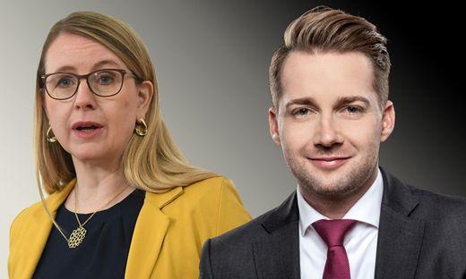 Wirtschaftsministerin Margarete Schramböck und Handelsverbands-Chef Rainer Will