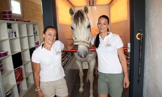 Menghini (links) und Peer mit Flamenco: Das Pferd genießt die Farblichttherapie
