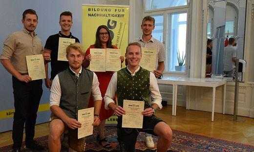 Preisträger Köfler, Lingenhel, Strutzmann, Springer und vorne Aste und Mörtl (von links)