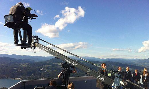 Dreharbeiten hoch über dem Wörthersee. Wenn solche Bilder um die Welt gehen, profitiert auch der Tourismus – ganz entsprechend den Absichten der österreichischen Filmförderung