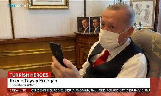 Präsident Erdogan beim Videotelefonat