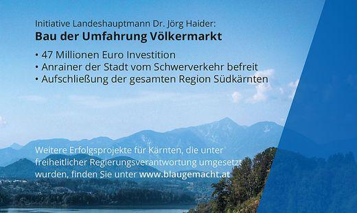 """""""Blau gemacht."""" Unter diesem Motto zählt die FPÖ Leistungen aus der Haider-Ära auf"""