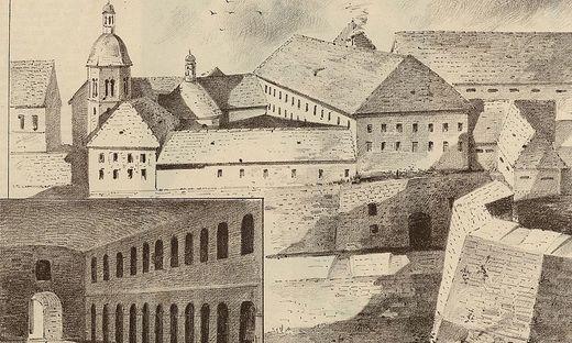 Blick auf den Gefängniskomplex am Schloßberg im 19. Jahrhundert