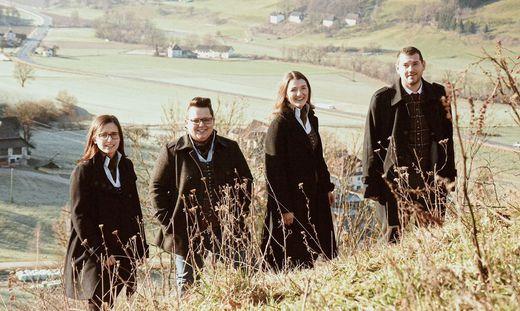 """Das Quartett """"Vox ad libidum"""" auf einer Herbstwiese"""