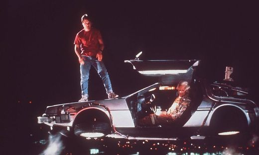 Michael J. Fox als Marty McFly mit Emmett Brown (Christopher Lloyd)