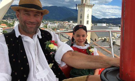Hohenberger mit seiner zehnjährigen Tochter Cosma