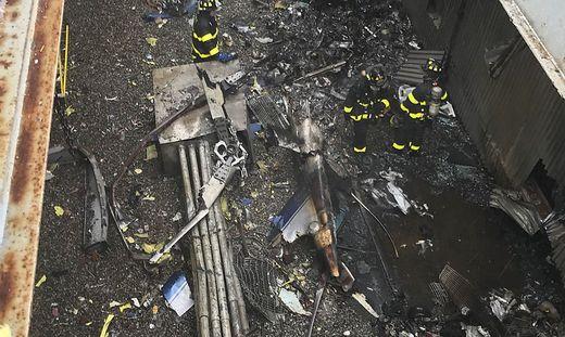 Die Überreste des abgestürzten Hubschraubers