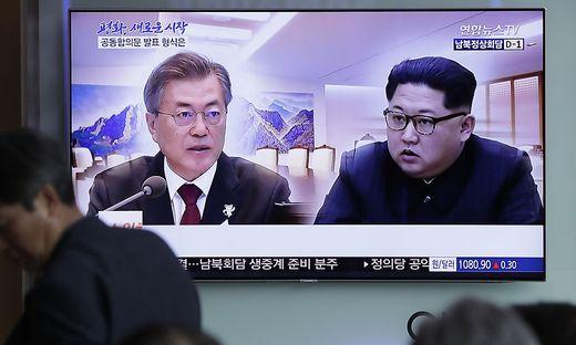 Südkoreas Präsident Moon und Kim Jong-Un treffen zusammen