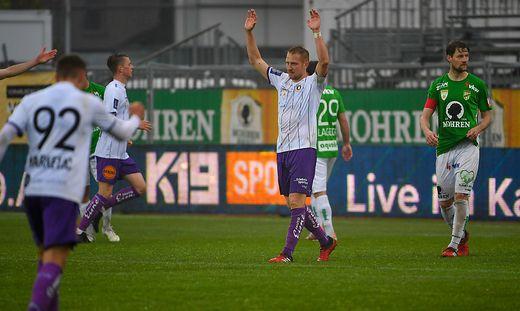 Nach vier Spielen stand Markus Rusek wieder in der Startelf und erlöste die Austria in der 73. Minute mit seinem Treffer gegen Lustenau