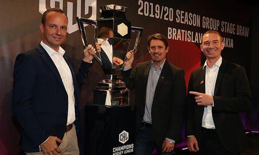 Bernd Vollmann (Graz 99ers), Oliver Pilloni (KAC) und Varian Kirst (Vienna Capitals, von links)