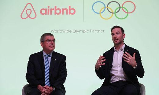 IOC-Chef Thomas Bach und Airbnb-Co-Gründer Joe Gebbia