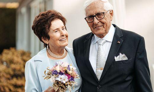 Martha und Nikolaus Lanner, Altbürgermeister von Maria Wörth, erneuerten zum vierten Mal ihr Eheversprechen am Wörthersee