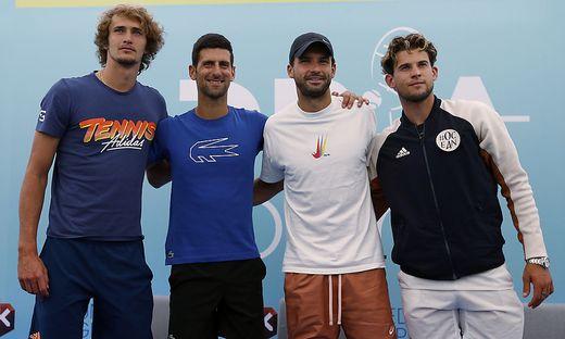 Alexander Zverev, Novak Djokovic, Grigor Dimitrov und Dominic Thiem