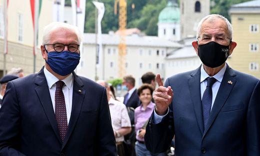 Bundespräsidenten unter sich: Frank-Walter Steinmeier und Alexander Van der Bellen in Salzburg