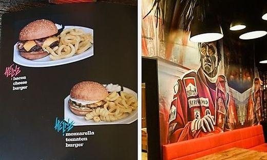 Neben Burger und Co. serviert man eine markante Wandgestaltung