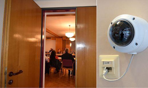 Im Gemeindeamt wurden Überwachungskameras installiert; über offene Türe verfolgte die Polizei die Gemeinderatssitzung mit