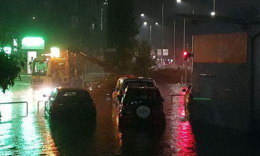 Überflutete Straßen in Graz