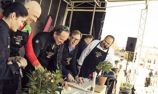 Lafer mit Bürgermeister Winter, Planai-Chef Bliem und Landesrat Buchmann