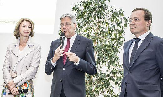 LH-Stv. Gaby Schaunig, LH Peter Kaiser (beide SPÖ) und Landesrat Ulrich Zafoschnig (ÖVP)