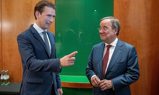 Bundeskanzler Sebastian Kurz mit dem Unions-Kanzlerkandidaten Armin Laschet