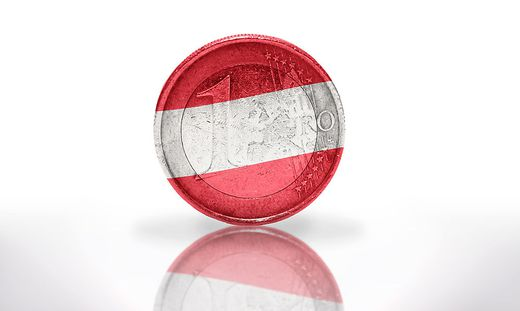 euro coin with austrian flag on the white background