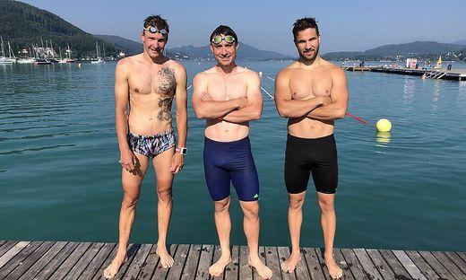 Die Snowboarder Payer (Mitte) und Obmann (re.) holten sich von Profi Tutukin (2. beim Ironman in Klagenfurt 2018) Tipps