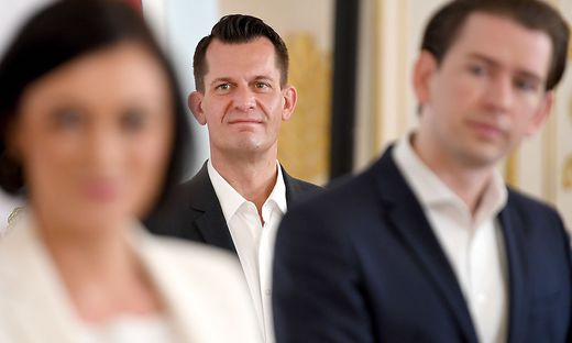 Gesundheitsminister Mückstein, Kanzler Kurz und Tourismusministerin Köstinger