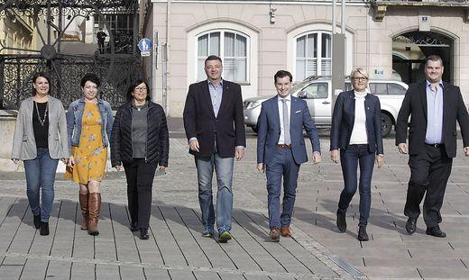 Ziehen in den Wahlkampf: Hillebrand, Praxmaier, Fischer, Leichtfried, Hofer, Stocker und Birkner (Wallner war verhindert)
