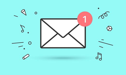 Icon of new mail envelope with red marker One Message