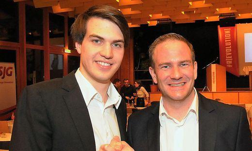 Der neue Kärntner SJG-Vorsitzende Luca Burgstaller mit seinem Vorgänger Michael Raunig (von links)