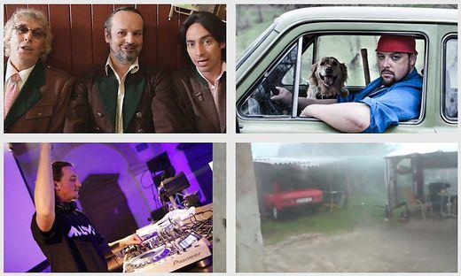 """Singkreis Gurk, Petutschnig Hons, DJ Michael Ban und """"Unsa Hittn"""" (von links oben im Uhrzeigersinn) wurden zu Youtube-Hits"""