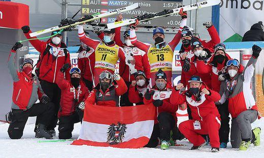 Matthias Mayer siegte mit der Nummer 13 vor Vincent Kriechmayr - das ÖSV-Team jubelte