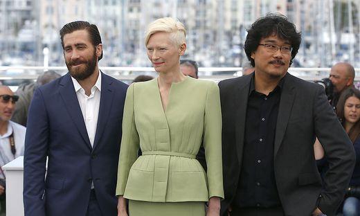 Jake Gyllenhaal, Tilda Swinton und Regisseur Bong Joon-Ho