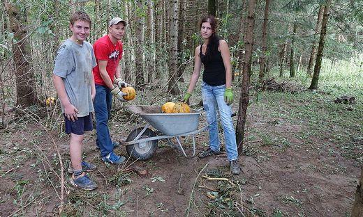 Familie Rupp musste fortgeschwemmte Kürbisse im Wald suchen