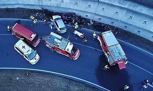 Die Unfallstelle auf der Umfahrung Völkermarkt
