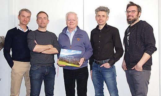 Köpfe hinter dem Buch: Werner Flieser, Michael Gletthofer, Heinz Veitschegger, Oliver Königshofer, Thomas Baumann