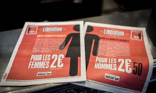 """Anlässlich des Weltfrauentags gab die französische Zeitung """"Liberation"""" zwei Ausgaben zu verschiedenen Preisen für Frauen und Männer heraus"""