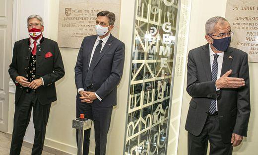 Landeshauptmann Kaiser mit Sloweniens Präsident Pahor und Bundespräsident Van der Bellen