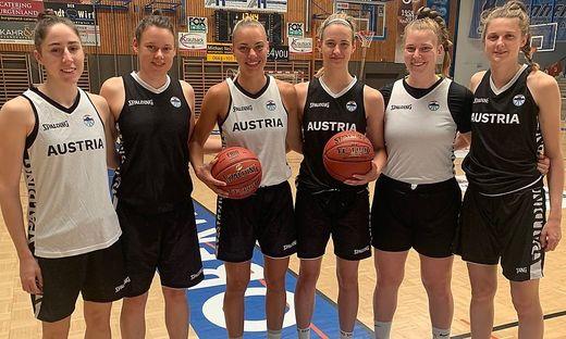 Sechs Steirerinnen verstärken das Basketball-Team: Michaela Wildbacher, Annika Neumann, Anja Knoflach, Simone Sill, Nina Krisper und Camilla Neumann (von links)