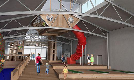 Das Jufa Gnas bekommt den größten Indoor-Holzspielplatz der Steiermark.