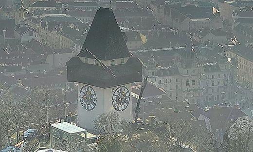 Die Webcam der Stadt Graz zeigt die Kräne