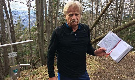 Jeder zweite Eintrag im Gipfelbuch am Gamskogel trägt seine Unterschrift: Der Deutschfeistritzer Gerhard Webel geht im Jahr rund 240 Mal auf den Gipfel