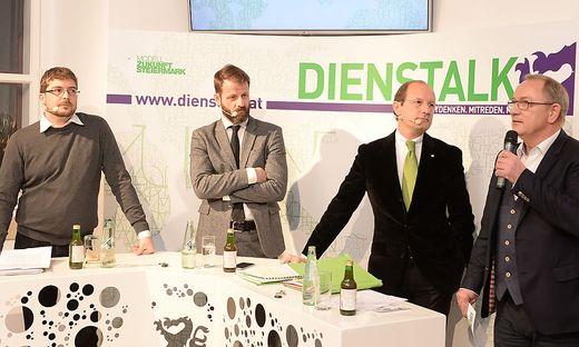 Clemens Könczöl, Moderator Michael Fleischhacker, Urs Harnik-Lauris und VP-Geschäftsführer Detlev Eisel-Eiselsberg