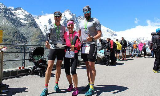 """Die Kärntner Werner Uran, Waltraud Laznik und Marco Robinig (von links nach rechts) waren Staffelläufer für """"Outdoor against Cancer"""""""